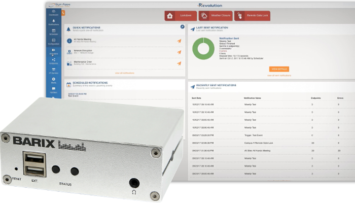 BARIX INTEGRATES RELIABLE IP AUDIO AND CONTROL HARDWARE WITH SYN-APPS' REVOLUTION NOTIFICATION PLATFORM